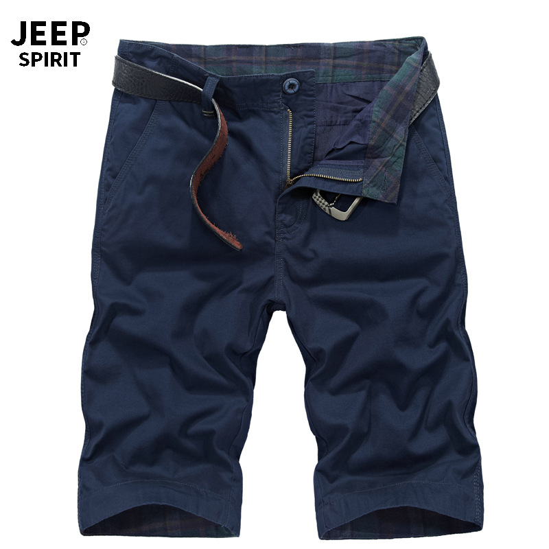 JEEP SPIRIT Cargo Short Men Summer Mens Shorts Casual Mid-waist Knee Length Straight Short Masculino Big Size 30-42 No Belt