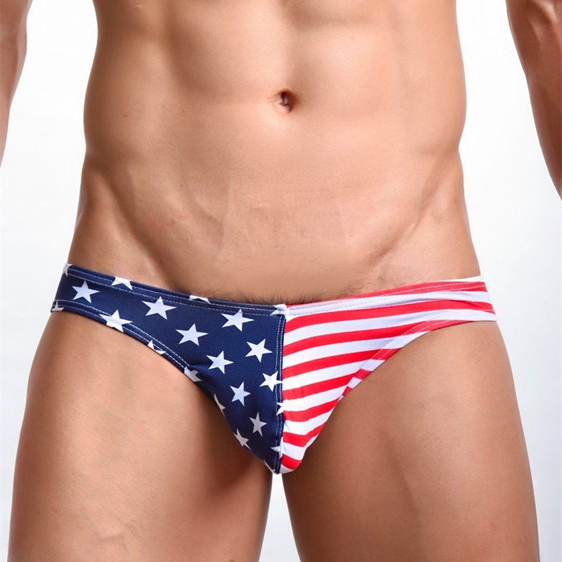 Men's Briefs Underwear American Flag Printed Sexy Striped Thongs Jock Strap Bugle Pouch Cotton Underpants Male Panties Tanga