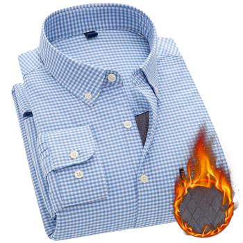 Aoliwen mężczyźni jesienią i zimą z długim rękawem grube 100 bawełna ciepłe dorywczo biznes koszula w kratę plus kaszmir slim fit koszula typu Oxford tanie i dobre opinie CN (pochodzenie) COTTON Wełniana Włókno poliestrowe KOSZULE CODZIENNE Pełne Wykładany kołnierzyk Jednorzędowe REGULAR