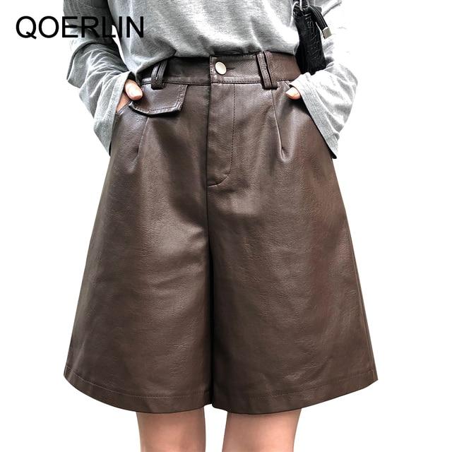 QOERLIN PU Bermuda Shorts for Women Faux Leather Shorts Stylish High Waist Shorts Streetwear Plus Size Pockets Trouser Female 3