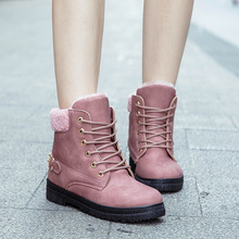 Women Shoes Ankle Snow Boots High Quality Pu Leathers Martin Boots High-top Platform Shoes Woman Plush Warm Lace-up Non-slip fedonas high quality women cow suede ankle boots rhinestone wedding party shoes woman wedges high heels short martin shoes woman