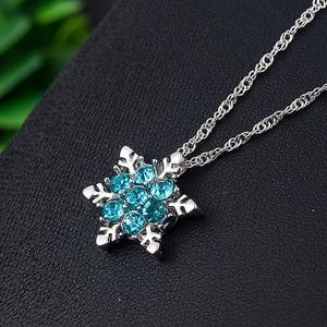 Новинка 2020, очаровательные винтажные женские ожерелья и подвески с голубым кристаллом в виде снежинки и цветка из циркония, ювелирные издел...