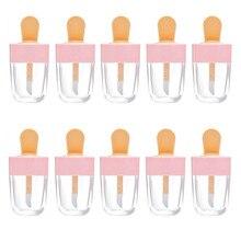 10 個 8 ミリリットルリップグロスボトルリップ釉薬チューブ空ピンクアイスクリームリップグロスチューブ包装材料メイクdiyリップ釉薬