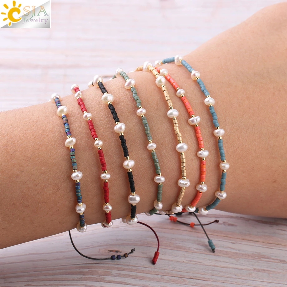 CSJA Miyuki Bracelets for Women Pulseras Beads Pearl Bracelet Mujer Moda 2020 Baroque Jewelry Delica Glass Braided Charms S343
