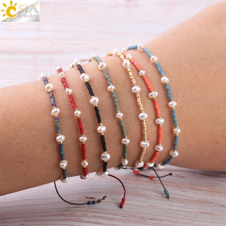CSJA Miyuki Bracelets for Women Pulseras Beads Pearl Bracelet Mujer Moda 2020 Baroque Jewelry Delica Glass Braided Charms S343