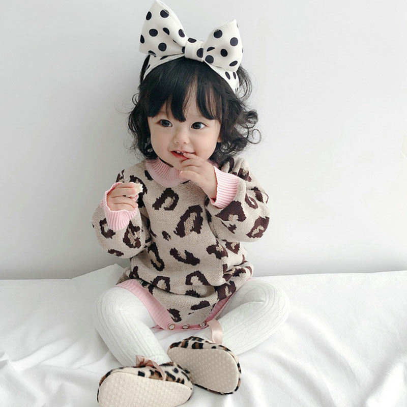 Baby Girl Bodysuit 100% Cotton Leopard Autumn Newborn Baby Clothing Girl Jumpsuit Knitted Baby Clothes Baby Girl Sweater 6