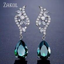 Zakol design de moda aaa + warter gota zironia cristal balançar brincos para as mulheres romântico folha clara casamento jóias fsep2260