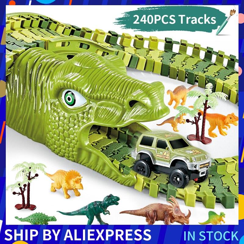 Dinosaur Railway Toy Car Track Racing Track Toy Set Educational Bend Flexible Race Track Flash Light Car Toys For Children Boys
