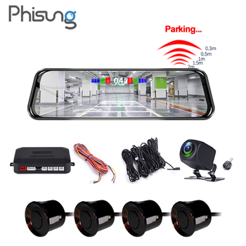 Phisung H50P 9.66Streaming Car Mirror DVR Camera w/ Radar Parking Sensor systems FHD1080P night vision video registrator image