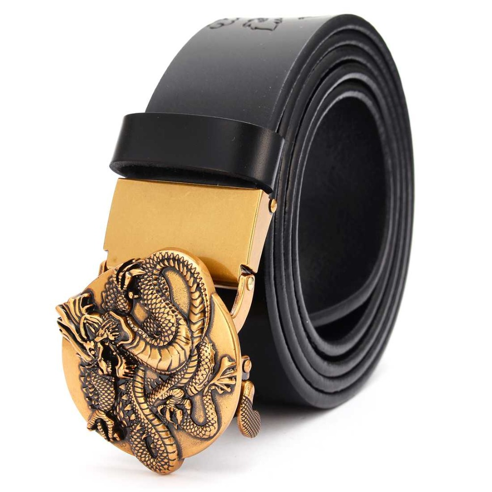Men's Real Leather Ratchet Dress Belt with Automatic BuckleFashion Leather Belts with Removable Automatic Alloy Buckle