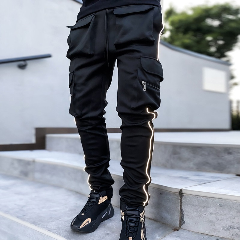 Spring Cargo Pants Men Sports Loose Straight Reflective Running Training Pants Multi-pockets Hip Hop Streetwear Dance Trousers