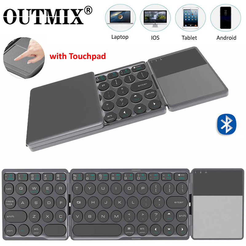 OUTMIX Upgrade Mini Folding Keyboard Bluetooth Foldable Wireless Keypad With Touchpad For Windows Android Ios Tablet Ipad Phones