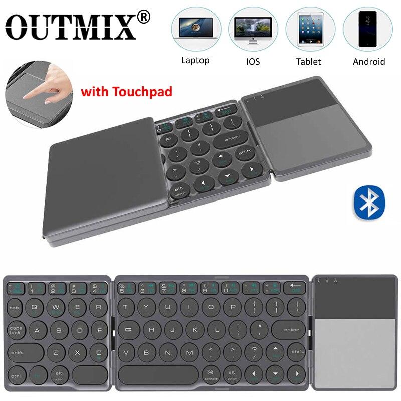 Teclado sem Fio Dobrável com Touchpad para Windows Outmix Atualização Mini Dobrável Bluetooth Android Ios Tablet Ipad Telefones