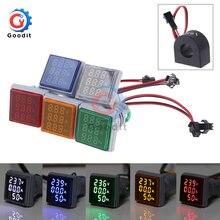 3 in 1 dijital voltmetre ampermetre HZ Hertz frekans metre AC 60 ~ 500V 22mm akım voltaj göstergesi test cihazı Amp sinyal ışığı LED
