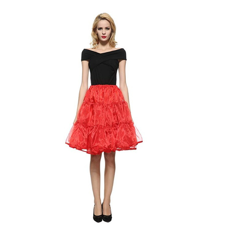 Fashion Lady Summer Sexy 3 Layer Organza Knee-length Slim Pleated Skirt Petticoat Classic Ballet Prom Tulle Skirt