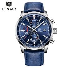 BENYAR montre à Quartz pour hommes, montre de luxe, chronographe, mode sport, Date, horloge en cuir