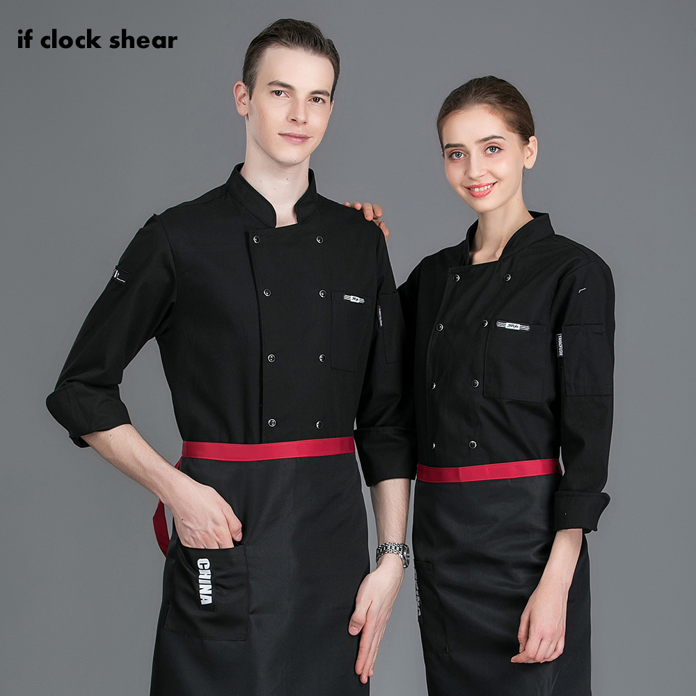 IF Hotel Restaurant Chef Unifroms Women An Men Food Service Kitchen Work Jacket Cooker Workwear New Double Breasted Chef Clothes