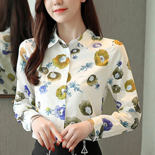 Fall New Fashion Blouses Shirt Korean Women Tops Flower Autumn 2019 Long Sleeve Print Office Feminine Chiffon Blusa 800F