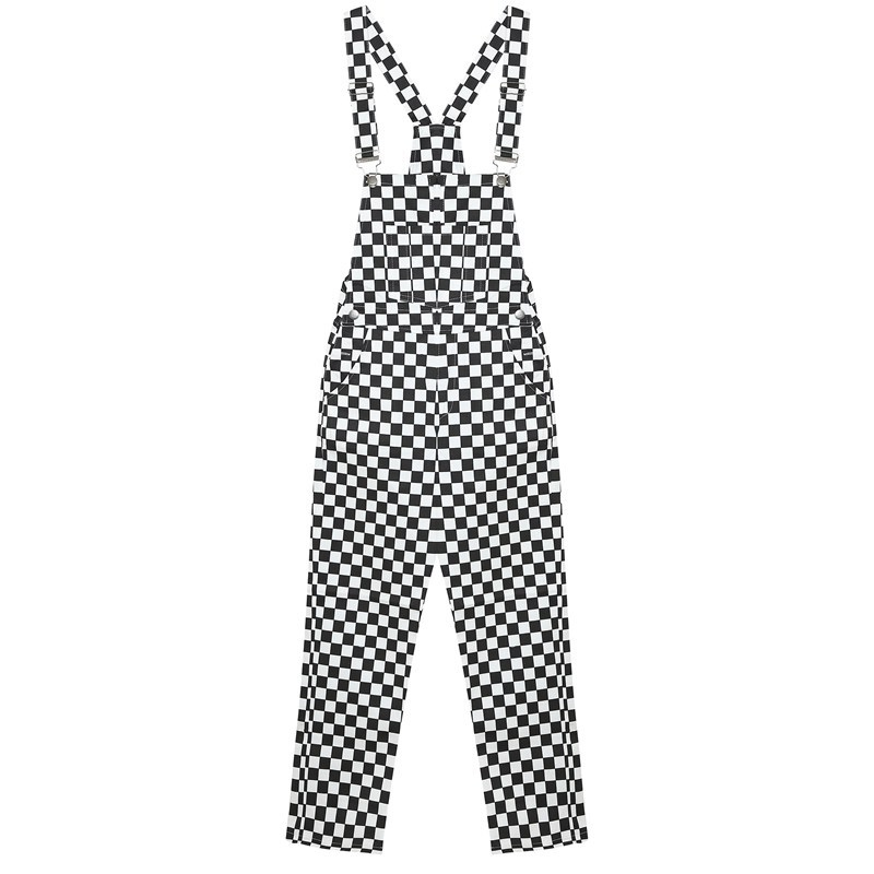 Women  Jumpsuit Slim Casual Black And White Checkerboard Lattice Loose Overalls