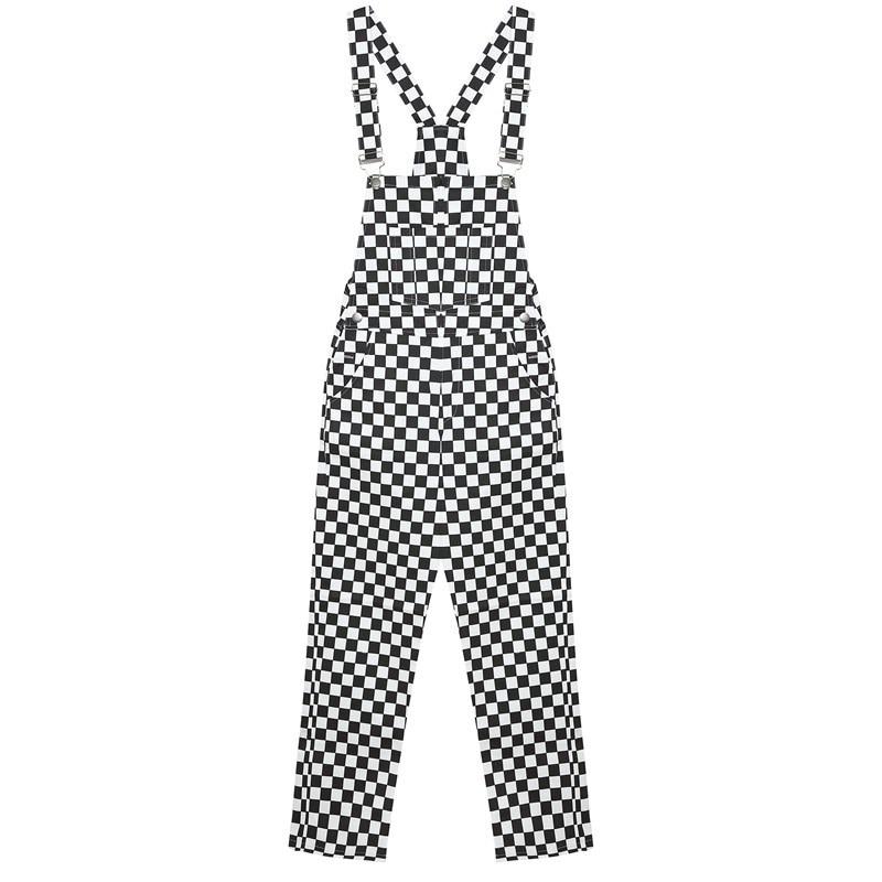 Women  Jumpsuit Slim Casual Black And White Checkerboard Lattice Loose Overalls