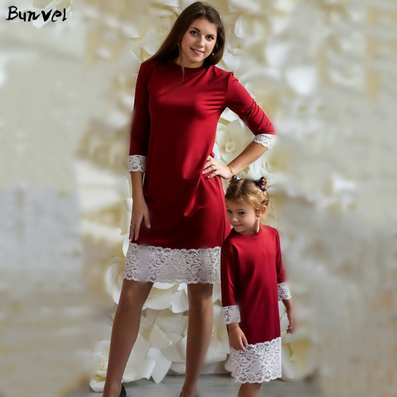 Bunvel New Arriavl Christmas Mother Daughter Dresses Patchwork Lace Long Sleeve Mommy And Me Clothes Mom And Daughter Dress 5