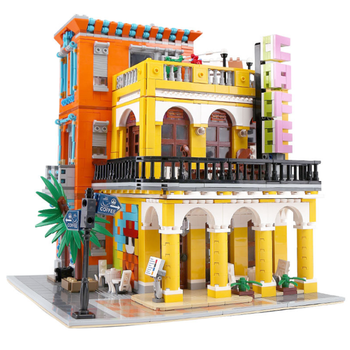 Building Blocks For Street View Series Cafe Havana Shining Model Technic Diy Toy For Boys Children Bricks Toys Christmas Gifts new diagoned alley fit 75978 building blocks kits bricks classic movie series model kids diy toys for children christmas gifts
