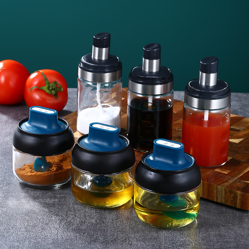 Stainless Steel Seasoning Jar With Spoon Kitchen Salt Shaker Sseasoning Box Tomato Sauce Seasoning Jar Seasoning Glass Sealed