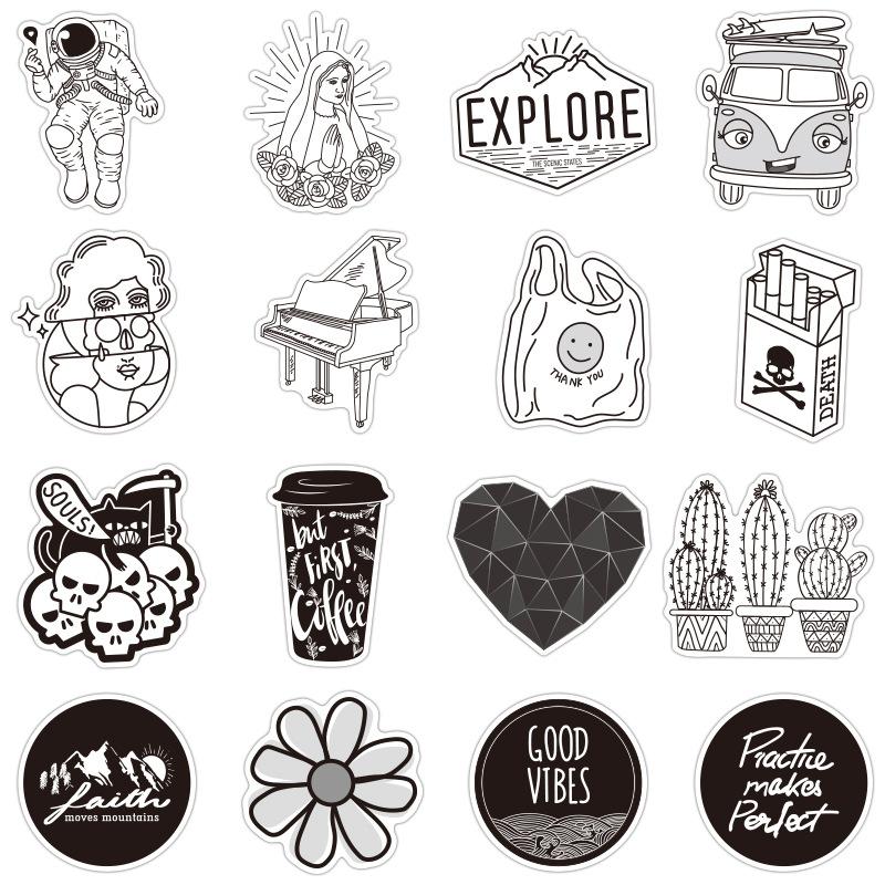 50pcs Vsco Stickers Black White