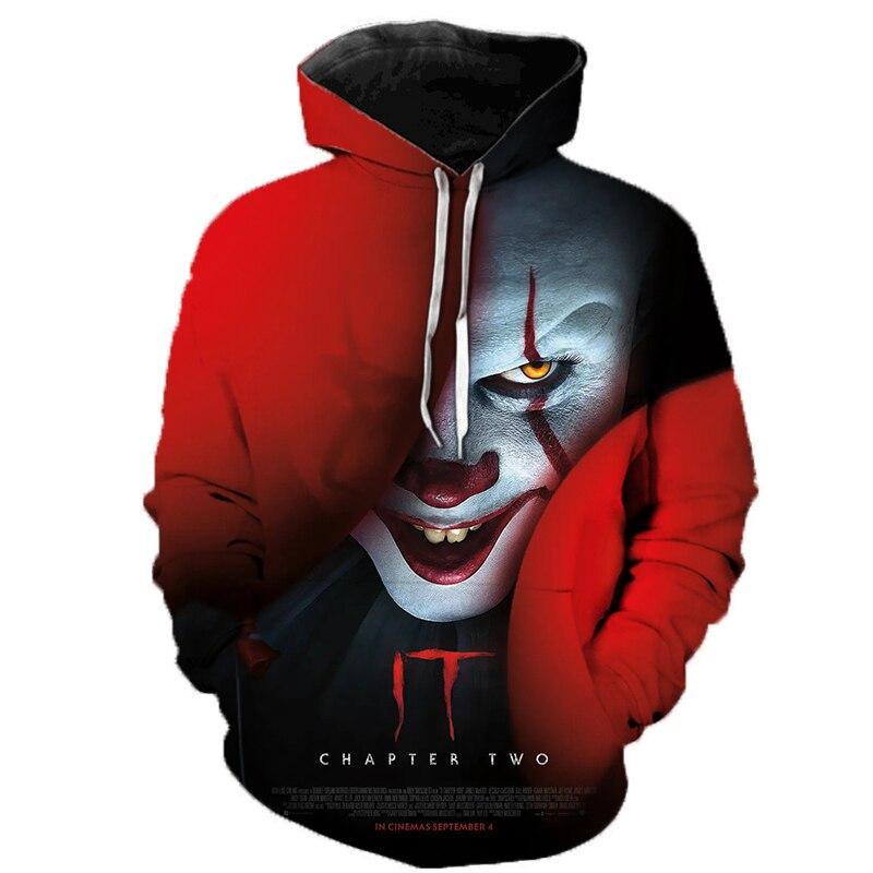 2019 Horror Movie IT Clown 3D Printed Hoodie Sweatshirts IT Chapter Two Film Pullover Men Women Casual Streetwear Funny Hoodies