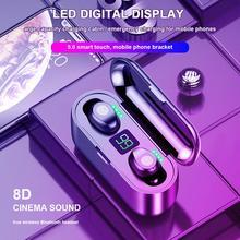 Wireless Earphone Bluetooth 5.0 IPX5 Waterproof LED Display Smart Touch Mini F9 TWS 2000mAh Charging Headphones Stereo Headset