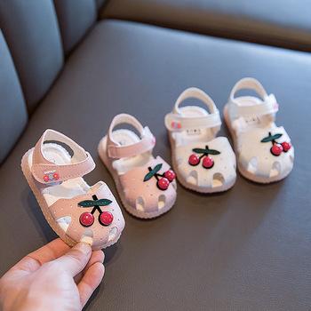 Dziecięce sandały dziecięce dziewczęce 2020 letnie dziecięce wiśniowe sandały obuwie dziecięce antykolizyjne dziecięce sandały dla dziewczynek Princess Shoes tanie i dobre opinie HUMOR RABBIT Mieszkanie z Krowa mięśni Lato Pasuje prawda na wymiar weź swój normalny rozmiar Baby girl