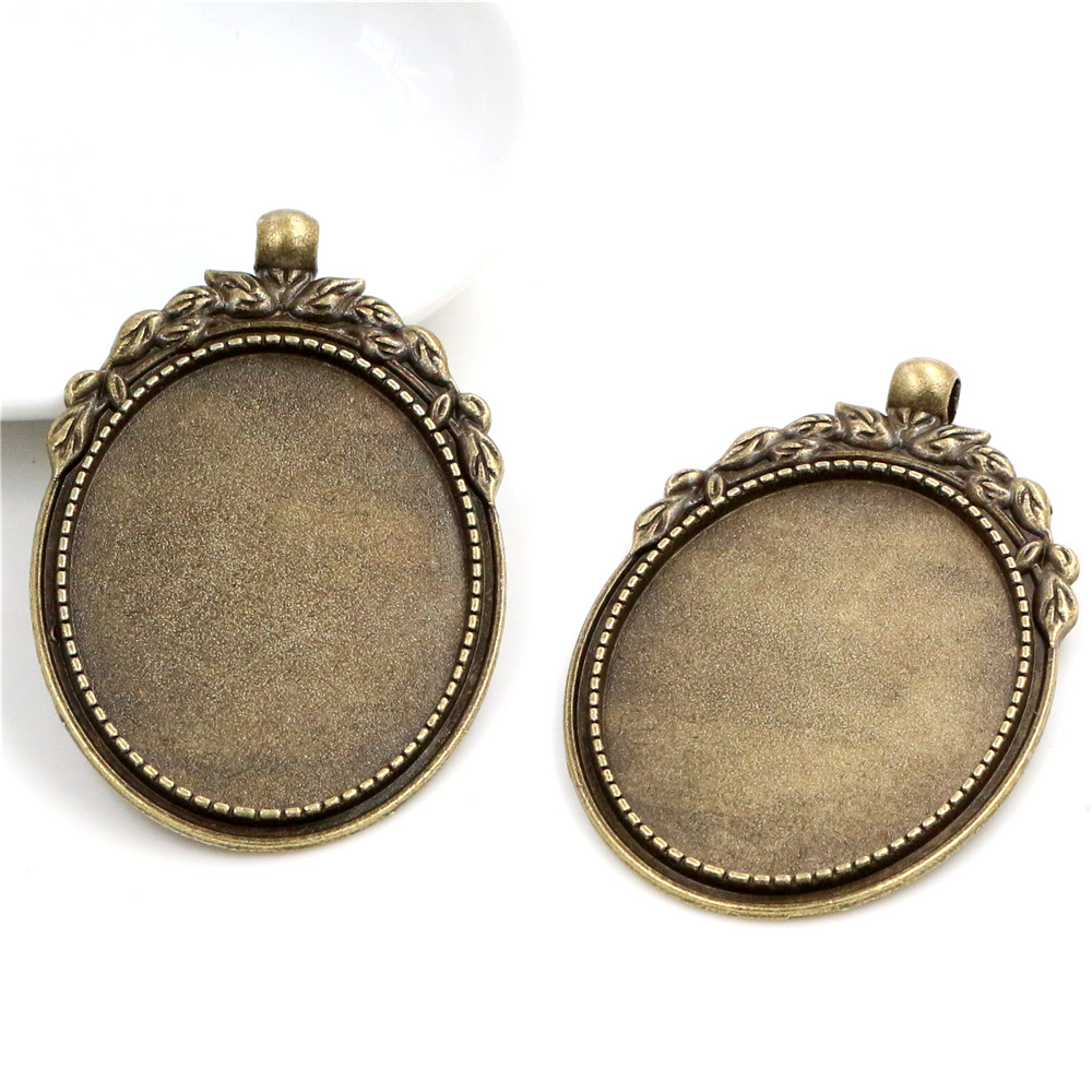 New Fashion 5pcs 30x40mm Inner Size Antique Bronze Flowers Style Cabochon Base Setting Charms Pendant (B1-21)