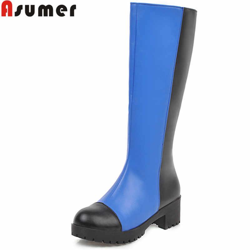 Asumer büyük boy 34-43 moda diz yüksek çizmeler kadınlar zip karışık renkler sonbahar kış çizmeler kare topuklu bayanlar balo botları 2020 yeni
