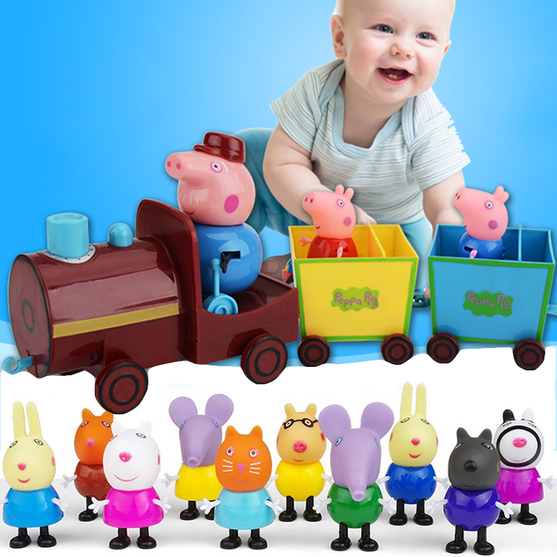 Peppa Pig Toy Grandpa Train With 2 Soft-Headed Dolls George Family AND Classmates Real Scene Movable Doll Toy Birthday Gift Toy
