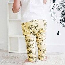 Новые зимние эластичные брюки с принтом динозавра для маленьких мальчиков; эластичные брюки с принтом динозавра; милые брюки; брюки 50
