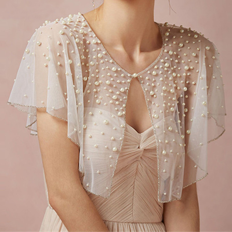2020 New Pearls Tulle Wedding Shawl Satin Bolero Jackets For Bridal Party Coat Bridal Wrap Custom Made Wedding Jacket
