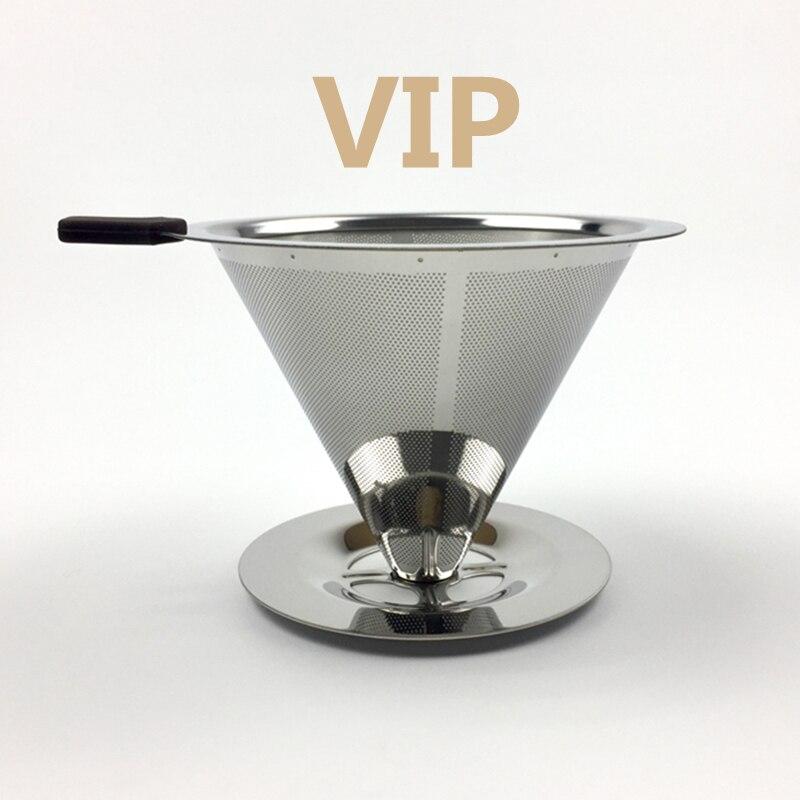 Caffè In Acciaio Inox Supporto Del Filtro Riutilizzabile Filtri di Caffè Dripper v60 Gocciolamento Caffè Cestini