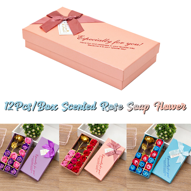 12Pcs Scented Rose Soap Festival Gift Party Wedding Decoration Christmas Wedding Valentine's Day Gift Flower Box Petal Box