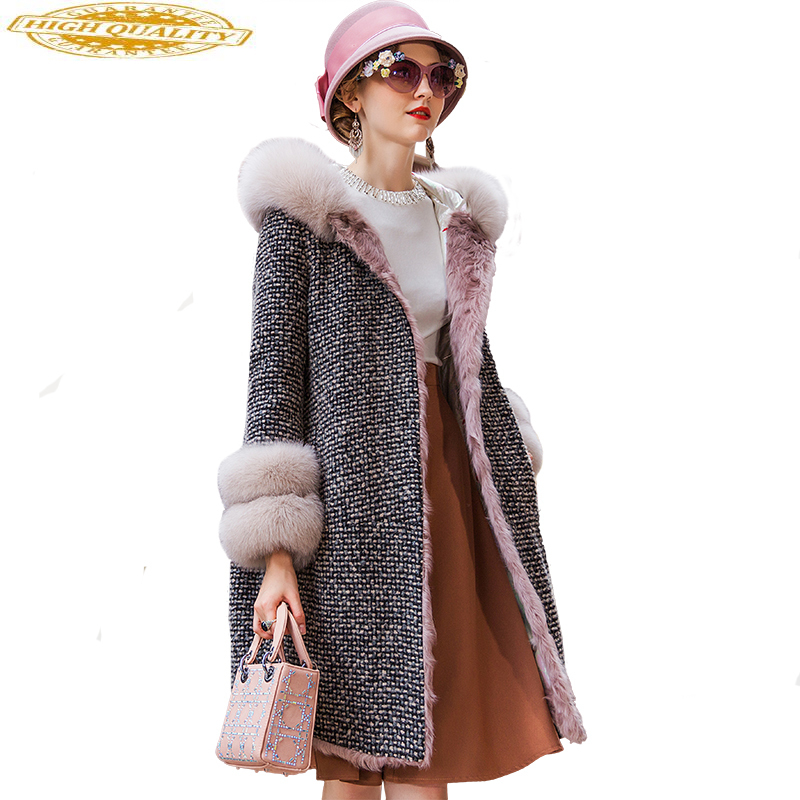 Real Fur Coat Female Fox Fur Collar Down Jacket Winter Coat Women Warm Wool Coats Korean Long Jacket Abrigo Mujer MY4461