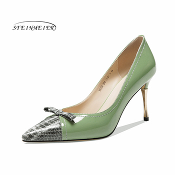 Women summer high heels fashion genuine leather pumps spring thin heels shoes square toe sexy heel woman shoes 2020