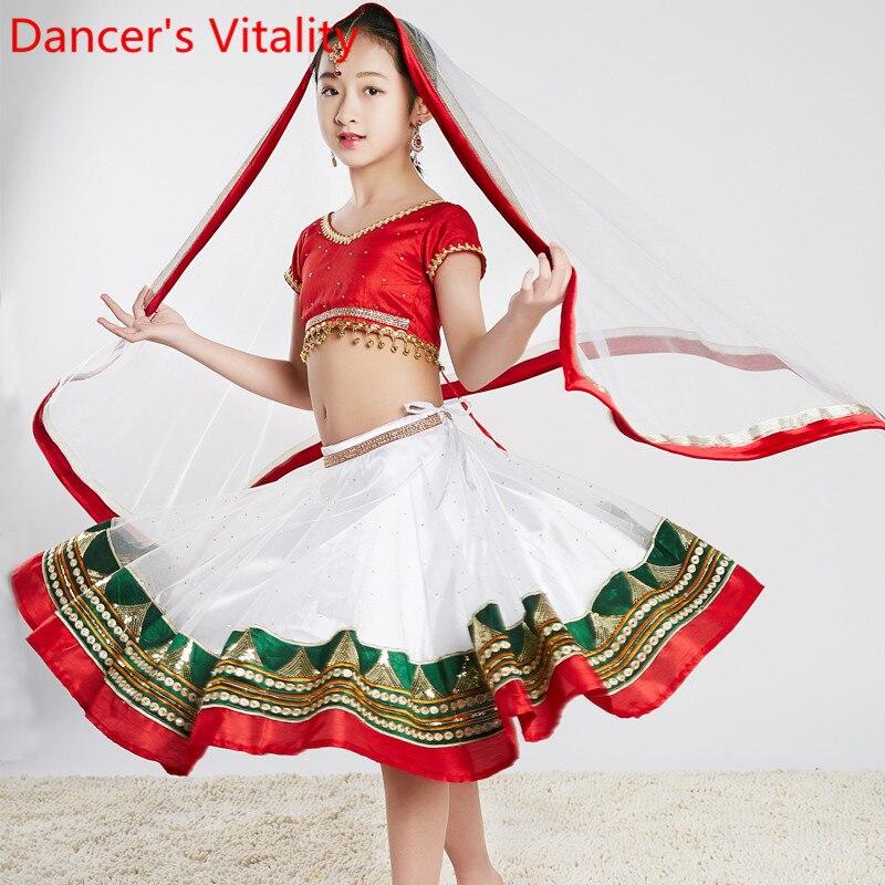 Детский индийский танцевальный топ, юбка со стразами, вуаль, нижнее белье, комплект из 4 предметов, костюм для восточных танцев, костюм для вы