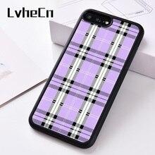 LvheCn силиконовый чехол для телефона для iPhone 6, 6S, 7, 8 Plus, 5 дюймов, фотография X, XS, XR, 11 PRO MAX, лавандовый, в клетку