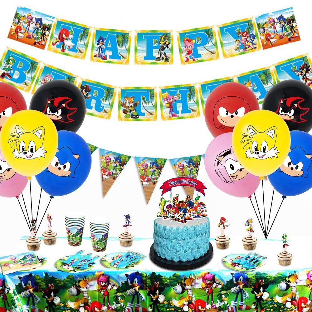 Sonic The Hedgehog Party Supplies Paper Cup Plates Napkin Banner Super Hero Foil Balloon Kids Birthday Party Decoration Supplies Disposable Party Tableware Aliexpress