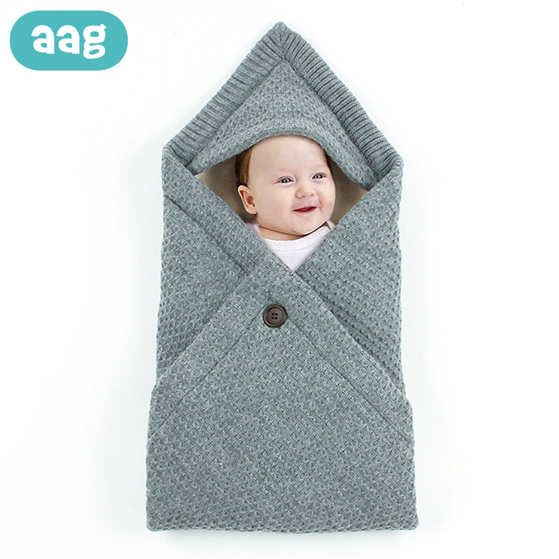 AAG Plush Cotton Baby Sleeping Bag Knitted Stroller Envelope For Discharge Newborns Envelope Cocoon Baby Sleepsack Swaddle Wrap