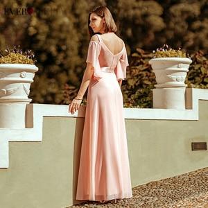 Image 2 - Ooit Pretty Pink Bruidsmeisje Jurken A lijn V hals Uit De Schouder Elegante Lange Jurken Voor Wedding Party Robe Mousseline 2020