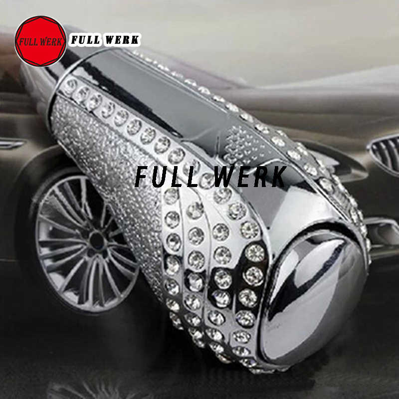 Chrome Bling Bling Crystal Rhinestone Black Leather Shift Knob Compatible with Car Manual /& Automatic Shifter