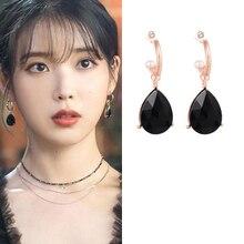Black DEL LUNA Hotel IU Korean dramas TV New Fashion personality Eardrop Elegant For Women Earrings pendientes brincos ornament