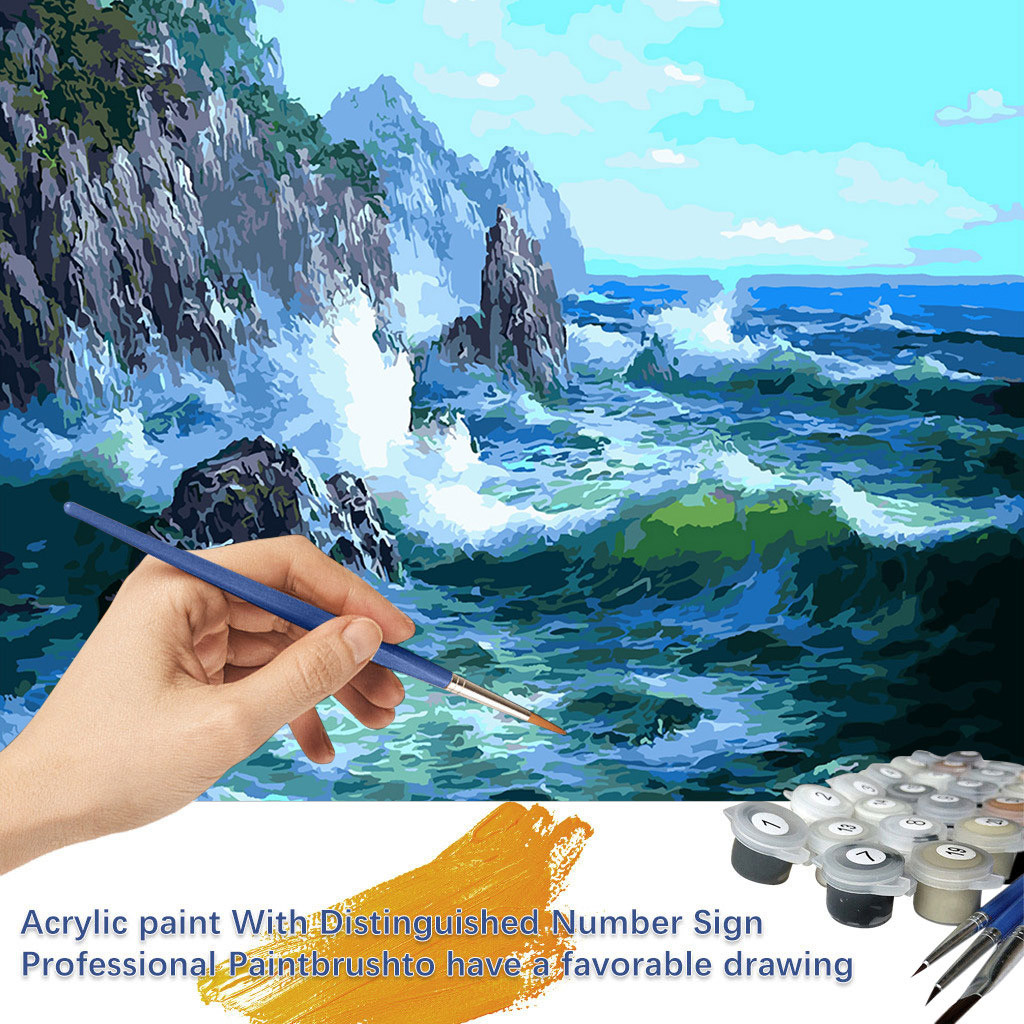 Ship Ocean Scenery Oil Painting By Numbers Drawing Handpainted Home Decoration