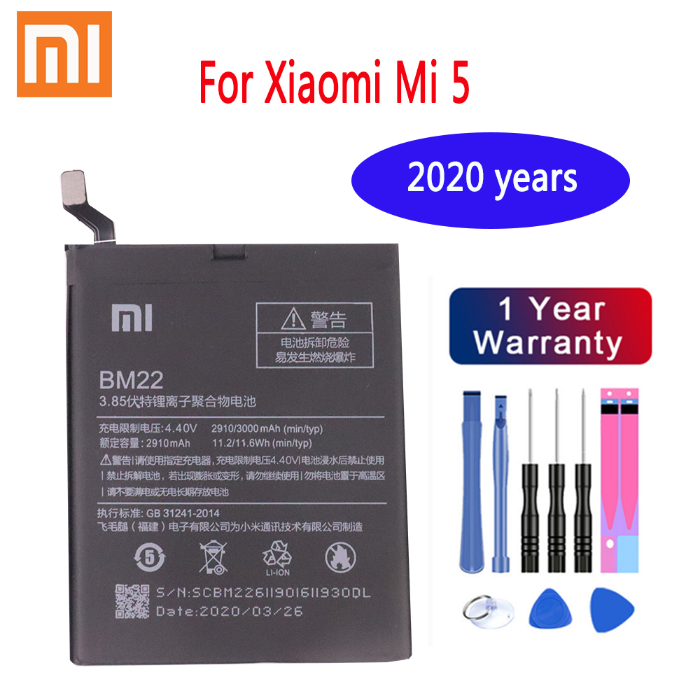 Xiaomi Original BM22 3000mAh <font><b>Battery</b></font> for Xiaomi <font><b>Mi</b></font> <font><b>5</b></font> Mi5 M5 High Quality Phone Replacement <font><b>Batteries</b></font> Package Free Tool image
