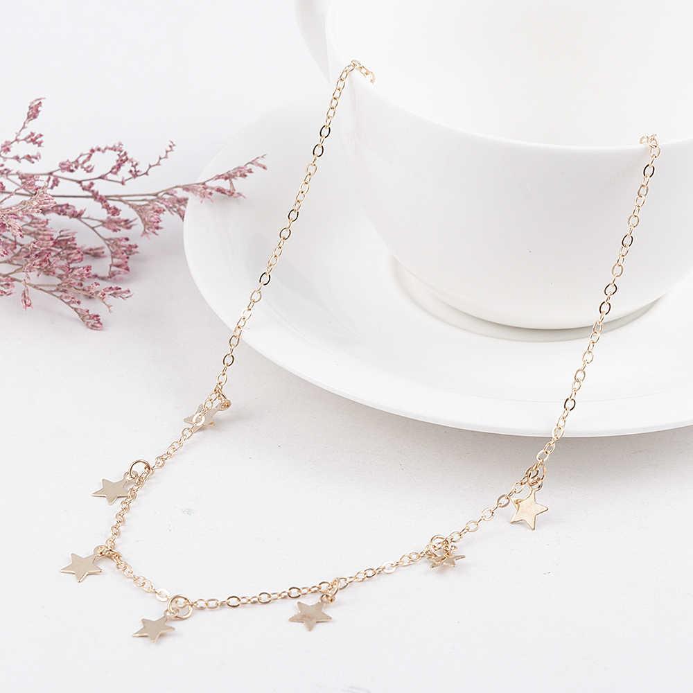 Moda damska dama elegancki wisiorek w kształcie gwiazdy plaża Chocker naszyjnik łańcuch prosty Choker Party Dress naszyjniki biżuteria